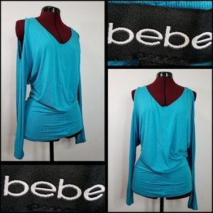 bebe woman cold sleeve blouse size small teal